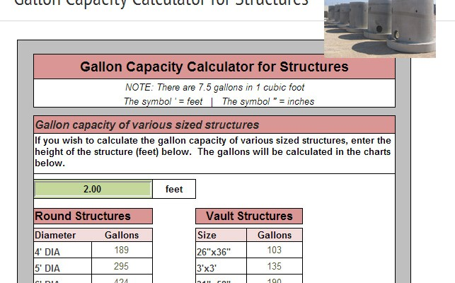 New Gallon Capacity Calculator for Structures